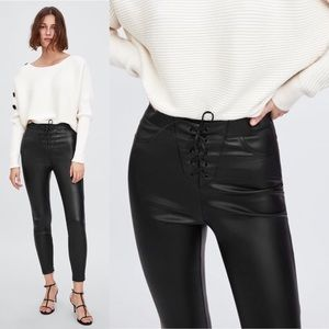 Zara Lace-Front Vegan Leather Leggings | NWT